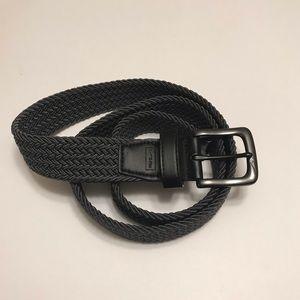 Nike G Flex Gray Woven Black Leather Belt